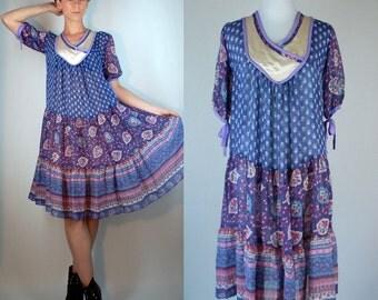 Vintage 1970s INDIAN GAUZE Cotton Sheer Bohemian Tent Dress. Hippie Gypsy Boho Festival Floral Print Bell Sleeve Purple Extra Small - Medium