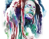 BOB MARLEY POSTER, Reggae poster, Bob Marley art print, Bob Marley portrait, watercolor, Bob Marley fan art, Bob Marley illustration, quote