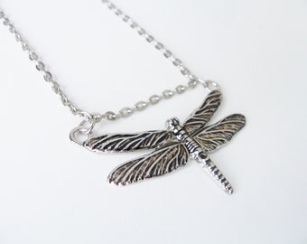 CLEARANCE - Metal dragonfly pendant necklace - dragonfly pendant - metal silver link chain necklace - dragonfly jewelry - dragonfly necklace