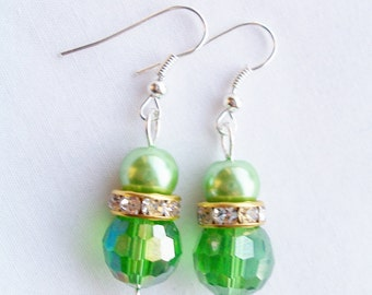 Green pearl and crystal earrings - Swarovski banded earrings - green glass pearl earrings - green jewerly - green pearls - green crystals