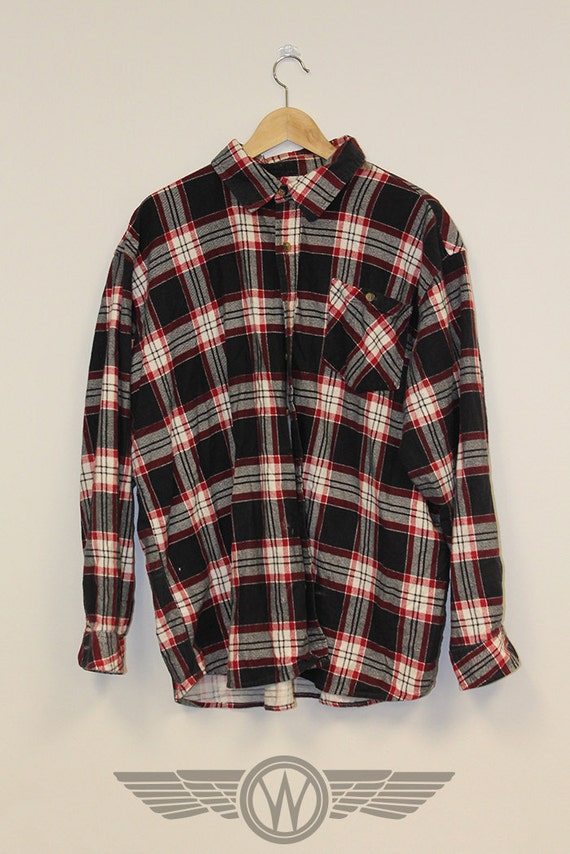 Back to the basics red white black flannel shirt by for Red black and white flannel shirt