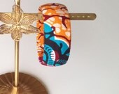 African print, upcycled fabric bangle, maroon, blue, orange, pink, dolly mixture fabric, funky chunky bangle