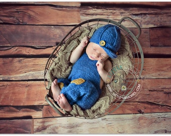 Knitted Mohair Overalls Boy Newborn Set Hat and  Pants with patches Handmade Photo Prop