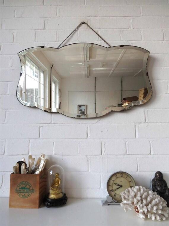 Bordo smussato grande vintage parete specchio art deco - Specchi pubblicitari vintage ...