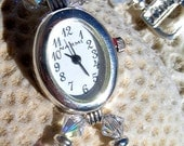 Silver Plate Watch with Moonstone and Swarovski Crystal,Jewelry