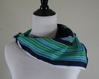 1960s Border Striped Square Scarf, Made in Japan