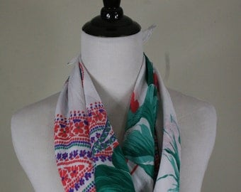 1980s Bold Floral and Paisley Square Scarf