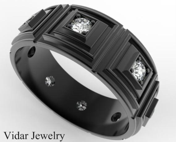 Mens Wedding Band 14k Black Gold DiamondsUnique Wedding