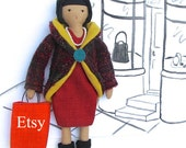 Fashion Doll Clothes PDF Sewing Pattern - Dress, Coat, Shoes & Shopping Bag