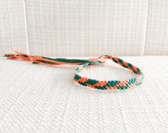 Woven Bracelet Peach and Teal Asymmetrical Chevron Friendship Bracelet