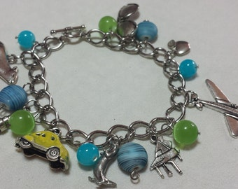 Custom Cabin Pressure Inspired Silver Charm Bracelet