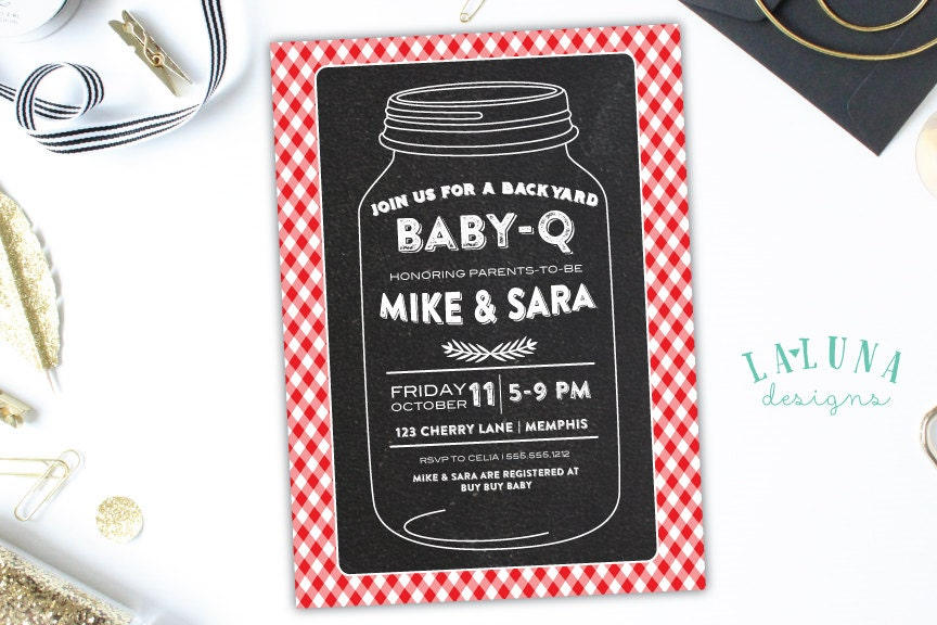 Baby Shower Invitation Baby Q Invite Mason Jar Barbecue