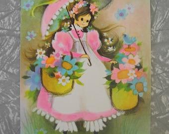 Vintage Greeting Card BROLLY LADY