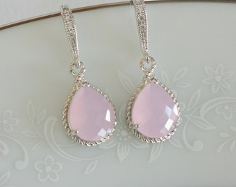 Blush Pink Bridesmaid Earrings, Pink Bridesmaid Jewelry, Crystal Earrings Bridal Earrings Pink Earrings