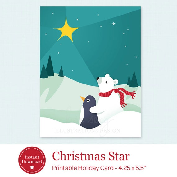 Printable christmas card star holiday