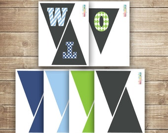 2nd Birthday Pennant Banner / Printable  TWO Pennant Banner / Boy's Birthday / Blue & Green  - INSTANT DOWNLOAD - Printable