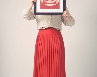 1980s red pleated high waisted wool skirt, long vintage skirt with knife pleats