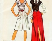 70s  SEXY Front Slit Skirt and Top Pattern Simplicity 5079 U Neck Top  Regular or Evening Length Skirt Bust 40 Vintage Jiffy Sewing Pattern