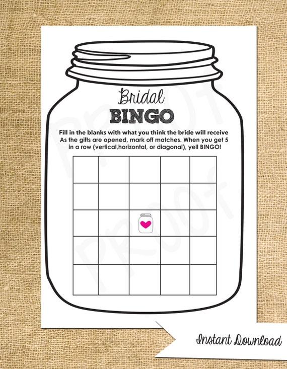 Bridal Bingo- Shower Game-- Mason Jar Theme Shower Game-Customization ...