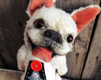 French bulldog named Penguin.  Teddy bear. Artist teddy bears.Portrait your pet.OOAK.Christmas gift