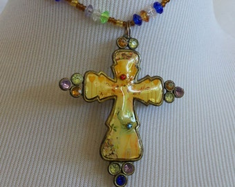 Necklace Hand Made Cross and Beads