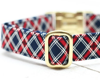 Plaid 4th of July Dog Collar,  Red, White and Blue Plaid, Patriotic, Fourth of July, Metallic Gold, Pet Collar with Metal Buckle