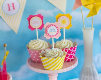 You Are My Sunshine Cupcake Toppers- (12) Yellow & Pink