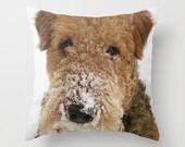 Snow Dog Throw Pillow, Airedale Terrier, Photo Pillow Case, Cute Pillowcase, Winter Decoration, Nursery Decor, Ecofriendly, 16X16 pillow