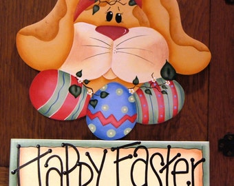 Easter Bunny with Eggs Wood Yard Stake - Easter Sign Decoration