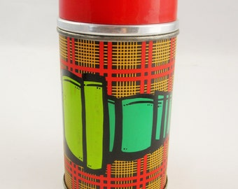 A Custom Decorated 'Alladin' Thermos in Plaid - Artist Signed Sparkplug - Airbrushed - Decorative and Useful - Designer