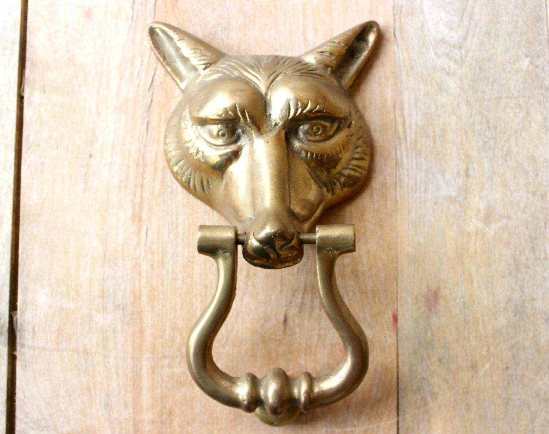 Vintage brass fox door knocker - Vintage brass door knocker ...