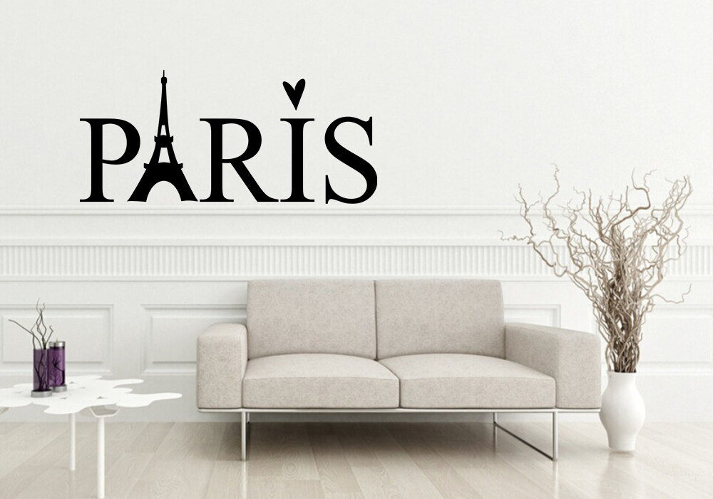 paris vinyl decal paris decor paris wall decal wall by designnmore. Black Bedroom Furniture Sets. Home Design Ideas