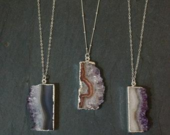Amethyst Necklace  // Amethyst Stalactite  // Amethyst Pendant // Amethyst Druzy // Silver Amethyst Necklace // February Birthstone