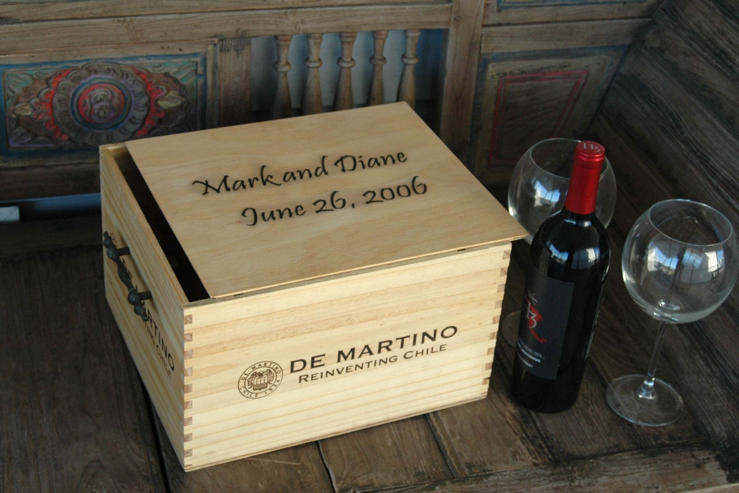 Personalized Wooden Wine Crate Wedding Card Box by KaiHinaCoastal