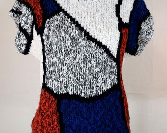 Vintage Knit Top Boucle Abstract Chunky Knit Sweater Tank Cap Sleeve Open Weave Art Teacher