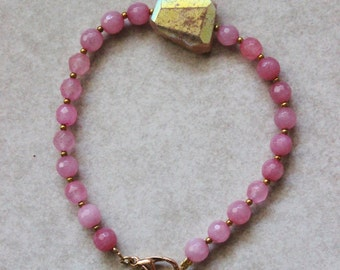 Moonstone bracelet, beaded, titanium coated, pink, agate, gold, moonstone, all one of a kind.