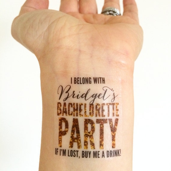 15 custom bachelorette party temporary tattoos gold by for Bachelorette party tattoos