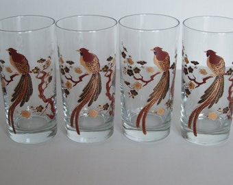 Set Of Four Brown Black and  and 22 k Gold  Asian Inspired Exotic Bird / Bird Of Paradise Glasses / Tumblers