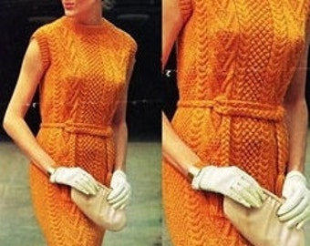 Aran Jumper Dress Knitting Pattern : Aran dress Etsy