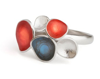 Blue and red ring, enamel jewelry, statement ring, geometric jewelry, colorful ring, blue statement jewelry, silver red ring