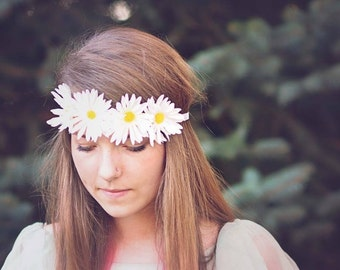 Daisy Floral Headband, Hair Accessory, Prom Hair, Flower Girl Hair,Ready to Ship by Ruby & Cordelia's Millinery