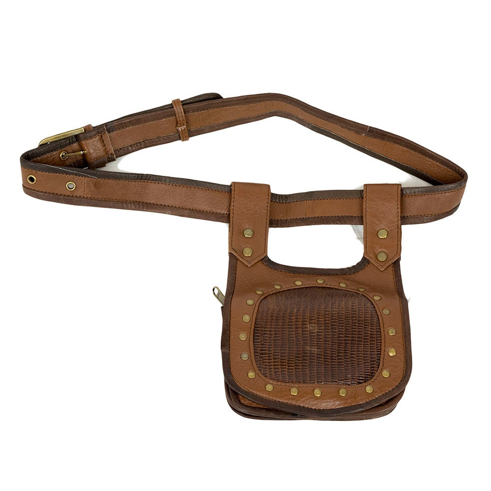 tribal leather utility belt with brown snake print light