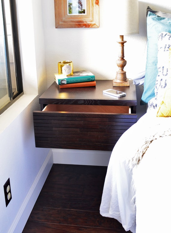 Two Modern Hanging Floating Nightstands / Drawers - Mayan Espresso
