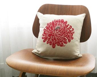 """16""""x16"""" Fuchsia / Beige / Dark Brown Floral Throw Pillow Cover"""