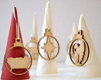 Set Of 10 Wooden Nativity Baubles -  Nativity Scene - Jesse Tree - Christmas Tree - Nativity Set - Rustic Nativity - Christmas Nativity Set