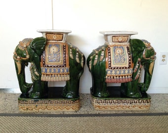 Items Similar To Vintage Elephant Garden Stool On Etsy