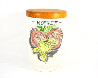 White Ceramic Coffee Canister with Wooden Lid Coffee Jar Made in Holland Dutch Decor