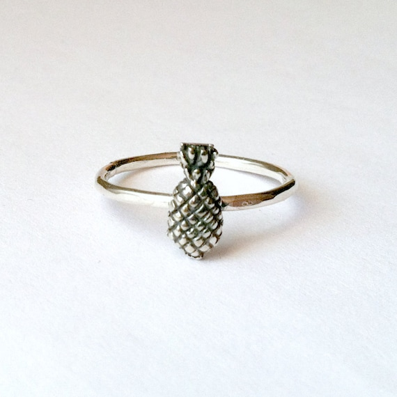 pineapple ring sterling silver custom handmade by coastalsoul