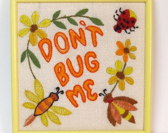 Vintage Don't Bug Me Ladybug Embroidery // Yellow Frame cute vintage 70s 80s // green orange red lady bug bee daisy flower moth