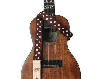 "Pink polkadot Ukulele Strap on Brown - 1""  wide"